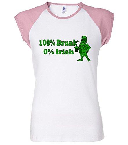 100% Drunk 0% Irish Funny Beer St. Patrick's Day Women's Raglan T-Shirt