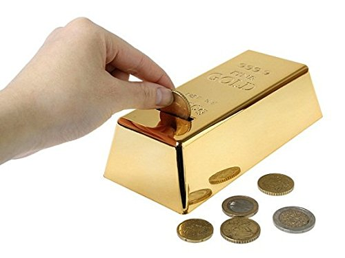 Lightningstore Gold Brick Piggy Bank Coin Money Deposit - Excellent Gift to Entourage Saving - Ideal For Your Kids and Children