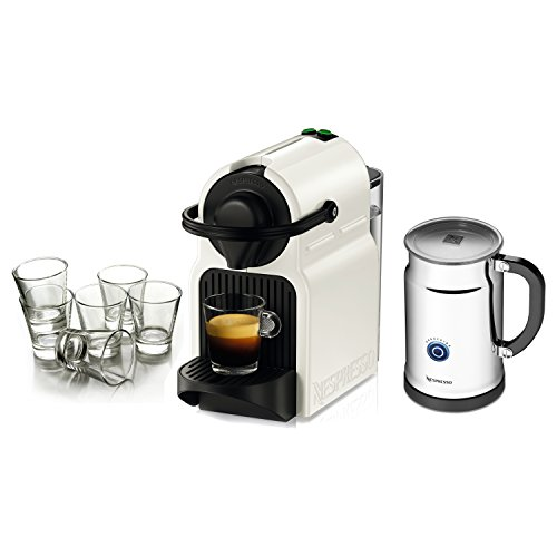 Nespresso Original Line Inissia White Espresso Maker Bundle with Aeroccino Plus Milk Frother and Free Set of 6 Espresso Glasses
