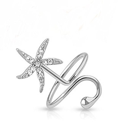 Elegant Classic Starfish CZ Freedom Fashion Nail Rings 316L Surgical Steel (Starfish Adult Costume)
