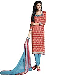 Manvaa red Poly Crepe Dress material with Dupatta