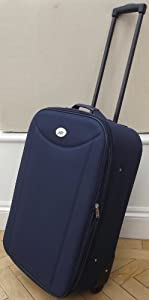 Navy Small 48 Lts Travel Luggage Suitcase On Wheels Expanding Trolly Light Weight
