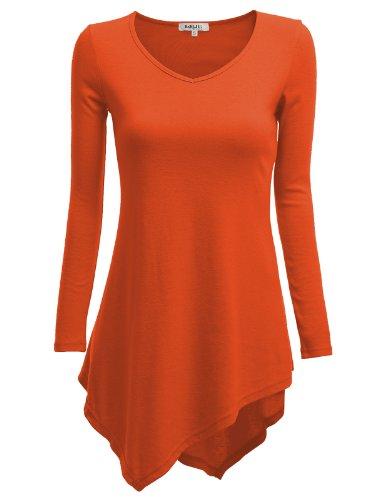 Doublju Women Stretchy Long Length Long Sleeve Big Size Tunics ORANGE,3XL