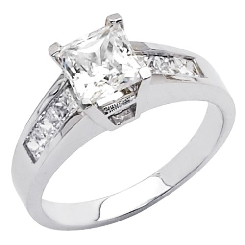 14K White Gold High Polish Finish Princess-cut 2.00 CTW Equivalent Top ...