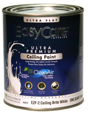 True Value EZF2-QT EasyCare Ceiling Brite White Interior Flat Latex Wall Finish, 1-Quart