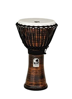 Toca Freestyle II Rope Tuned 10-Inch Djembe - Copper Spun Finish