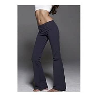 amazoncom ladies lowrise cotton lycra foldover yoga