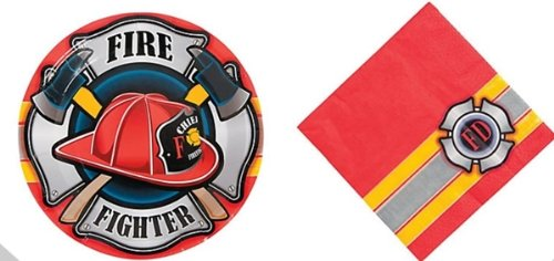 Firefighter Fireman Party Set - Fire Fighter Theme Plates and Napkins Set