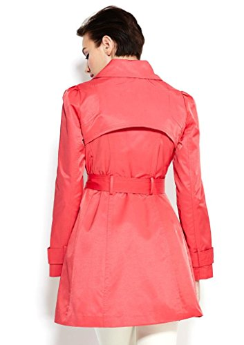 Jessica Simpson Women's Belted Ruffle Trench Coat, Coral, Large
