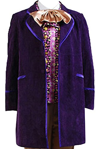 [Willy Wonka and the Chocolate Factory 1971 Costume Coat +Vest+ Bow] (Willy Wonka Costume)