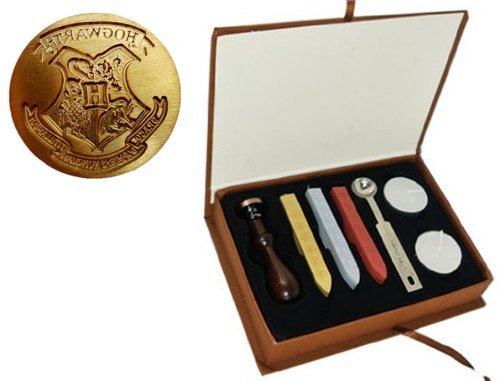 New Vintage Harry Potter Hogwarts School Badge Wax Seal Stamp Sticks Melting Spoons Candles Set (Seal Wax Set compare prices)