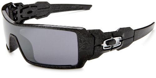 Oakley Men's Oil Rig Iridium Sunglasses,Polished Black Frame/Black Lens,one size