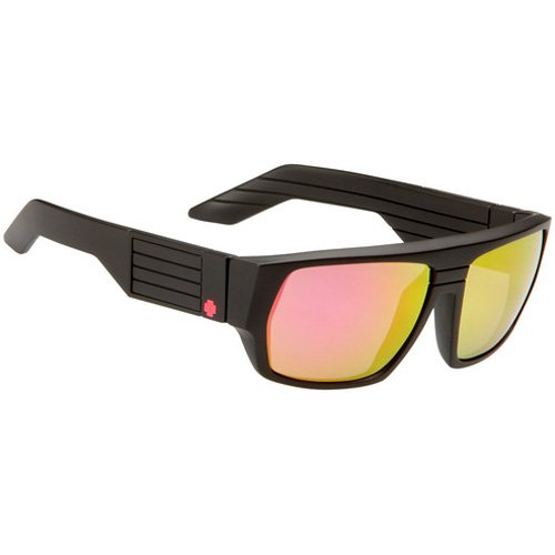 Spy Blok Sunglasses - Spy Optic Look Series Race Wear Eyewear - Color: Matte Black/Grey with Multi Layer Pink, Size: One Size Fits All