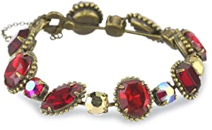 """Sorrelli """"Ruby Cocktail"""" Decorative Red and Gold Cut Crystal Line Bracelet"""