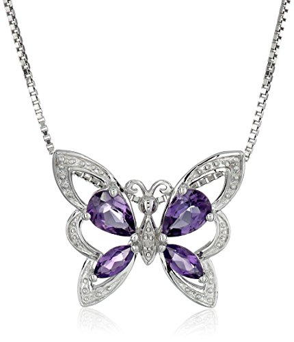 """Sterling Silver Pear And Marquise Shaped Amethyst And Diamond Butterfly Pendant Necklace (0.01 Cttw, I-J Color, I1-I2 Clarity), 18"""""""
