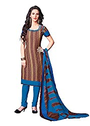 Ethnic For You Crepe Unstitched Salwar Suit Dress Materials(Beige,Maroon)