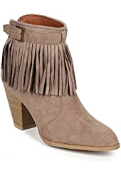 Qupid CH85 Women Suede Pointy Toe Fringe Chunky Heel Riding Bootie - Taupe