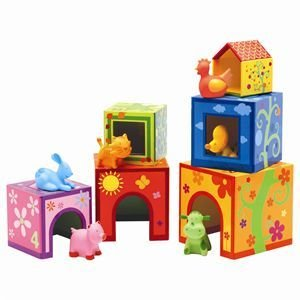 Amazon.com: Djeco Stacking Blocks Topanimo Cubes With Animals: Toys & Games