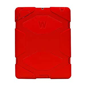 iPad Case, iPad 2 3 4 Case Lightweight Shockproof Drop Resistance Rugged Silicone + Plastic 2 Layer Hybrid Defender Super Protection Case and Built-in Kickstand for Apple iPad 2 iPad 3 iPad 4 (Red)