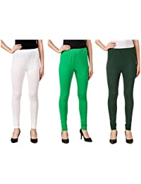 Svadhaa White Green Bottle Green Cotton Lycra Leggings(Pack Of 3)