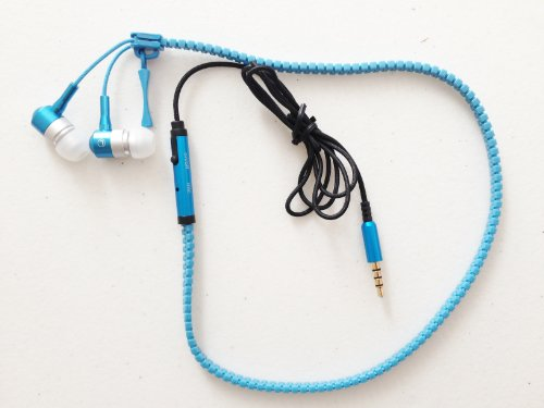 Njt Zipper Style 3.5Mm Standard Jack High Quality Headset Headphone With Microphone & Answer/Hang Up Button For Iphone 5 5S 5C 4 4S Galaxy S3 S4 S5 Android Phones Ipad 2 3 4 Mini Ipods Mp3 Players (6 Colors To Choose From) (Blue)