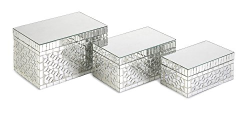 Imax 96110-3 Mandiline Mirror Mosaic Boxes, Set Of 3