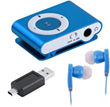 Mini Clip Metal USB MP3 Music Media Player With Micro TF/SD Card Slot Support 1-8GB + Earphone Blue