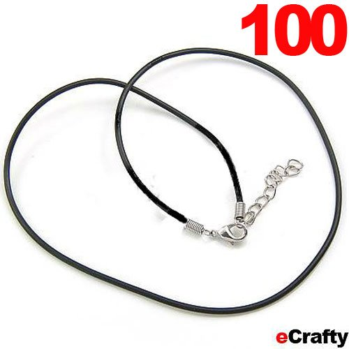 "100 Pack Black Leather Necklace Cords W/ Lobster Clasp 18"" Diy Jewelry Making"