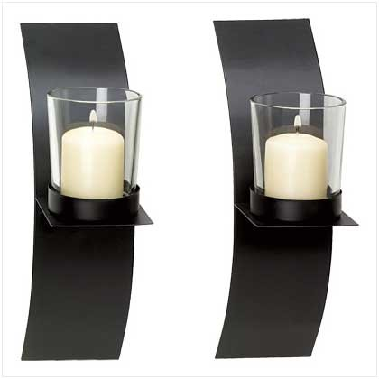 Modern Art Candle Holder Wall Sconce Plaque Set Of Two
