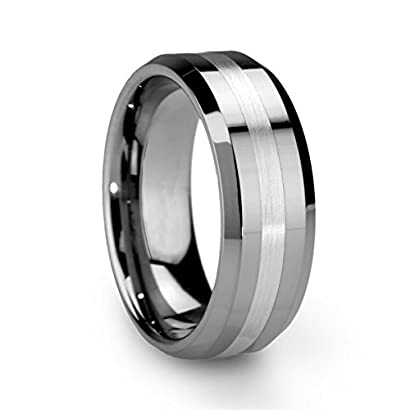 f79d1e01176 King Will 8mm Men s Tungsten Carbide Ring One Tone Matte Finish Brushed  Center Wedding Band Beveled