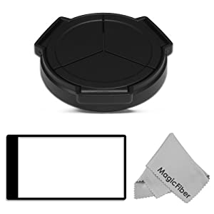 Auto Lens Cap for PANASONIC LUMIX DMC-LX7 + LCD Screen Protector + MagicFiber Microfiber Cleaning Cloth