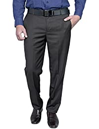 Routeen Men's Offira Brown Slim Fit Formal Trouser