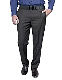 Routeen Men's Offira Brown Slim Fit Formal Trouser