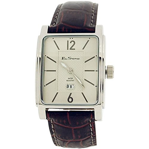 Ben Sherman Gents Textured Silver Dial Date Burgundy Croc Effect Strap Watch 857