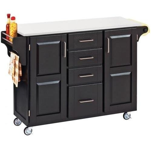 Cheap Homestyles 9100-1048 4 Drawer Kitchen Cart in Black with White Vinyl Top (B00126NIBO)