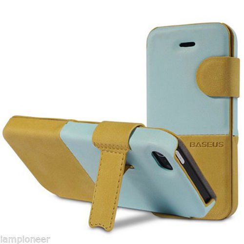 Pioneer Tech®Lively Pu Leather Colorful Cases For Iphone 5 /5S Flip Folio Case Stand Holder (Light Blue/Light Brown)