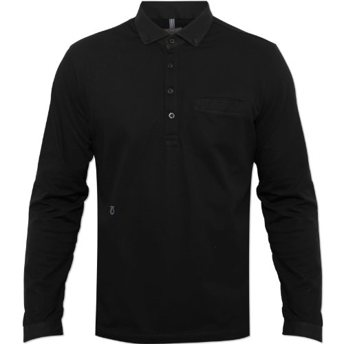 Peter Werth Mens Black P1H05001 Arnold Polo Shirt Long Sleeved Embroidered Logo Black X-Large