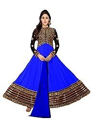 Suchi Fashion Embroidered Blue & Black Georgette Semi Stitched Suit