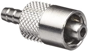 "Luer Connector - Stainless Steel 316 Male Luer Lock, For 1/8"" Tube, Barb O.D. 0.145"""
