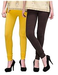 2Day Women's Cotton Churidaar Legging Brown/Yellow (Pack Of 2)