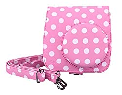 CAIUL Vintage Instax Mini 8 Camera Case Bag With Film Count Show, PU Leather, Pink With White Dots