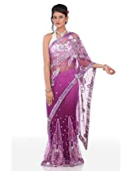 Chhabra555 Purple Net One Minute Saree