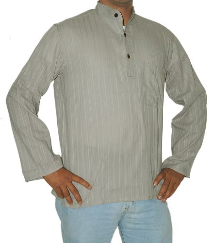Indian Casual Wear Cotton Short Mens Kurta with Standing Collar Neckline & Long Sleeves Size L