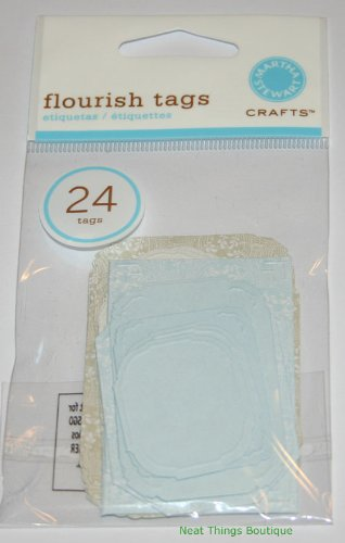 Blue & Taupe Flourish Tags Assorted Embossed Die Cut 24 Pcs Martha Stewart Crafts front-605925