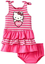 Hello Kitty Baby-girls Infant Dress With Diaper Set, Fuchsia Purple, 18 Months
