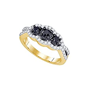 10kt Yellow Gold Womens Round Black Colored Diamond 3-stone Bridal Wedding Engagement Ring 1.00 Cttw