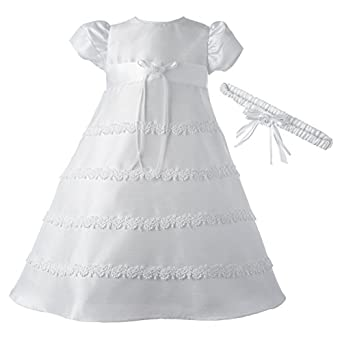Lauren Madison Baby-Girls Newborn Special Occasion Shantung Dress Gown Outfit, White, 0-3 Months
