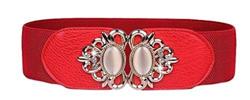 Aini Savoie Faux Leather Floral Interlock Buckle Elastic Waist Belt Cinch Red - S