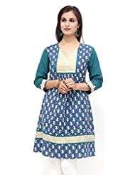 Missprint Blue Printed And Embroided Kurta