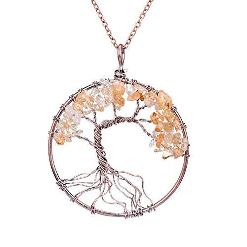 Handmade Tree of life Pendant Necklace Jewelry 7 Chakra Necklace Healing Gemstone Jewelry Citrine Quartz Pendant Gift Jewelry for Women